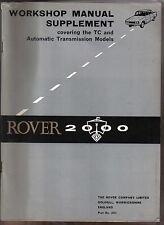 Rover P6 2000 Original Factory Workshop Supplement for TC & Auto Transmission
