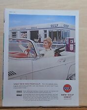 1958 magazine ad for Gulf Crest gas - women in white convertible wave goodbye
