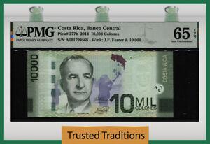 TT PK 277b 2014 COSTA RICA 10000 COLONES J. FERRER PMG 65 EPQ GEM UNCIRCULATED!