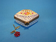FAN SHAPED FLORAL W/ ROSE  authentic FRENCH LIMOGES BOX- NEW