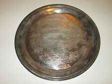 """VINTAGE ROUND  SILVER PLATTER TRAY WITH  SCROLLWORK SILVERPLATE? 12.5"""""""