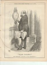 1887 Punch Cartoon Barometer Glass Falling for Local Depression.
