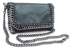 Echt Leder Cross Body Clutch Abendtasche Schultertasche schwarz Stella Italy