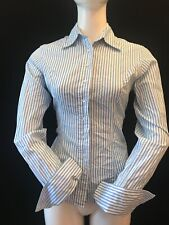 T.M. LEWIN Women's Cotton Cuff-Link Striped Shirt UK 8