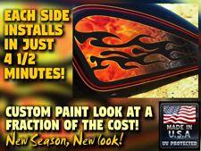 Harley Sportster custom paint airbrush look decal tank set Flames Diamond Plate