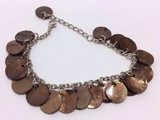 MOP Shell Charm Bracelet Adjustable Brown Jangly Gypsy Boho Hippy Silver Chain
