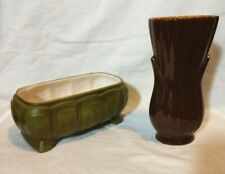 2 Vintage Haeger Vases, 1 small planter and 1 bud vase, mocha and avocado
