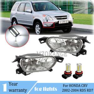 LED Fog Light Bumper Lamp For Honda CR-V CRV 2002 2003 2004 Left+Right W/ Bulbs