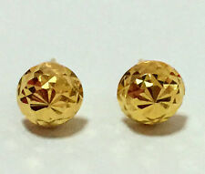 EXCELLENT 22K  SOLID GOLD BIG HALF BALL 5 MM. STUD  EARRINGS