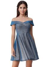 Silver glitter size 8 Goddiva bardo sweetheart neckline mini Dress