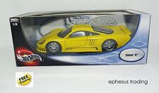 Hot Wheels 100% Saleen S7 Supercar Coupe FORD 351 V8 Yellow w/Black 1/18 MINT!