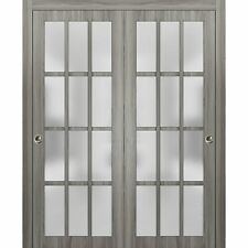 "56"" x 80"" Sliding Closet Frosted Glass Bypass Doors 