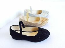 Girls Kids jeweled glitter strip ballet flats shoes on sale now blk gold sliver
