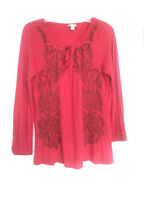 LUCKY BRAND Red Tunic Top Shirt Blouse Long Sleeve Embroidered Women's Size S