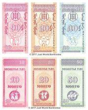 Mongolia 10 + 20 + 50 Mongo Set of 3 Banknotes 3 PCS UNC