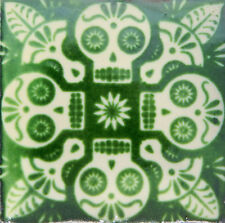 "Handmade Mexican Tile Sample Talavera Clay 4"" x 4"" Tile C397 Green Skull"