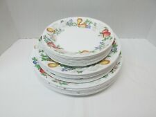 CORELLE IMPRESSIONS SCULPTURED CHUTNEY FRUIT PATTERN SET OF 24 PLATES