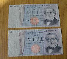 LOTTO 2 BANCONOTE LIRE 1000 VERDI II TIPO TRIPLA D  100100 SUBALPINA