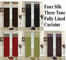 Faux Silk Lined Curtains Three Tone Bedroom Curtain Eyelet / Ring Top Tiebacks Purple. Lilac Cream 90 X 90 Yes 2 Please