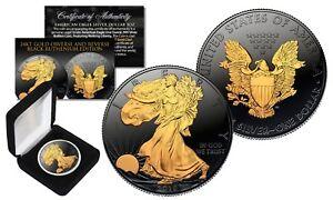 BLACK RUTHENIUM 1 oz .999 Fine Silver 2018 American Eagle US Coin 24K Gold Clad