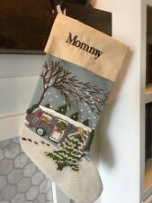 Rare! New Pottery Barn Crewel Embroidered Airstream Camper Christmas Stocking*