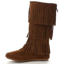 Women's Faux Suede Moccasin Three Tier Fringe Mid Calf Boots in Black and Camel