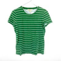 Michael Kors Women's T-Shirt Striped Green Causal Comfort Top Size Small #1810
