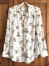 Adorable TU Dog Print Button Shirt Polka Dot White Labrador Frilly Cuffs 8 - 10