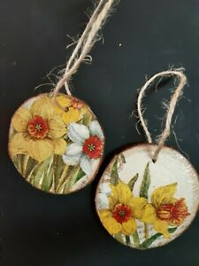 Decoupaged Wooden Slices