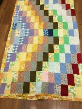 """VINTAGE BLANKET HIPPIE BOHO 70's PATCHWORK HANDSEWN 70"""" X 84"""" PEACE OUT WOODSTOC"""