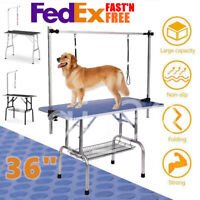 """New 36"""" Large Pet Grooming Foldable Table Dog Cat Adjustable Arm Groom Connect"""