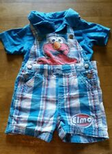 Sesame Street Boys Suspender Shortall Shorts outfit Size 12 Mos features Elmo!