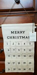 Hearth & Hand Magnolia Holiday Advent Calendar Beige Canvas Pockets NWT