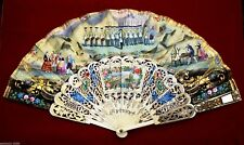 ANTIQUE FAN EVENTAL STICKS HAND FAN BEAUTIFULLY HAND-PAINTED