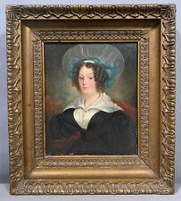 19thC Antique Lady Portrait Old Primitive Lace Bonnet Oil Painting Gesso Frame