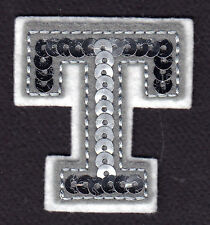 """Letters - Silver  Sequin  2"""" Letter """"T"""" - Iron On Embroidered Applique"""