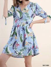New BLU HEAVEN Dress Women's SMALL Sky Blue Tropical Print Vacation Cruise Tie
