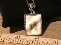 Recycled Broken Porcelain Jewelry, Wavy Rose Pendant