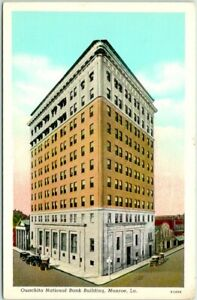 Monroe, Louisiana Postcard OUACHITA NATIONAL BANK Building / Street View Linen