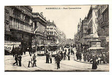Rue Cannebiere - Marseille Photo Postcard c1910 /TRAMS