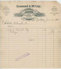 1905 Leonard & McCoy Billhead NY Mill Machinist Railway Engineer Supplies Tools