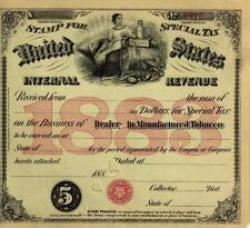 Antique 1883 TOBACCO PIPES CIGARS Vintage Vapor Cigarettes Civil War Tax Bar