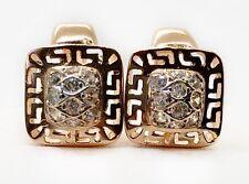 Vintage 14k Rose Gold Huggie Style Greek Key Design Square Earrings 5.8 Grams