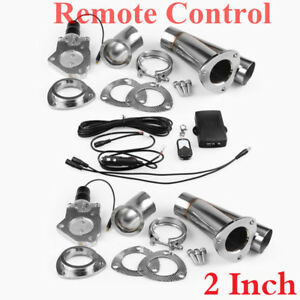 "2"" 2xCutOut Remote Control Stainless Steel Y Headers Pair Electric Exhaust Pipe"