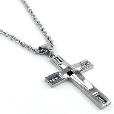 "Cross Necklace Pendant Silver Rope Chain Mens 24"" 4MM"