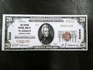1929 $20 Citizens National Bank of Warren Pa Pennsylvania type 1 Banknote