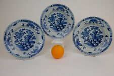 Lovely Antique Blue and White Delft Plates, 18th century, flower decor.