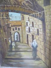 Jerusalem Old City View Magnificent Painting Original Hand Paint Signed Vintage