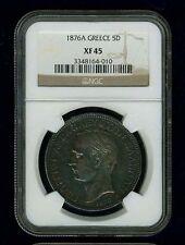 GREECE  GEORGE I  1876-A 5 DRACHMAI SILVER COIN, NGC CERTIFIED XF45