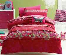 4 pce Katrina Butterfly Double Bed Quilt Cover Set & Floor Rug Girls Bedroom